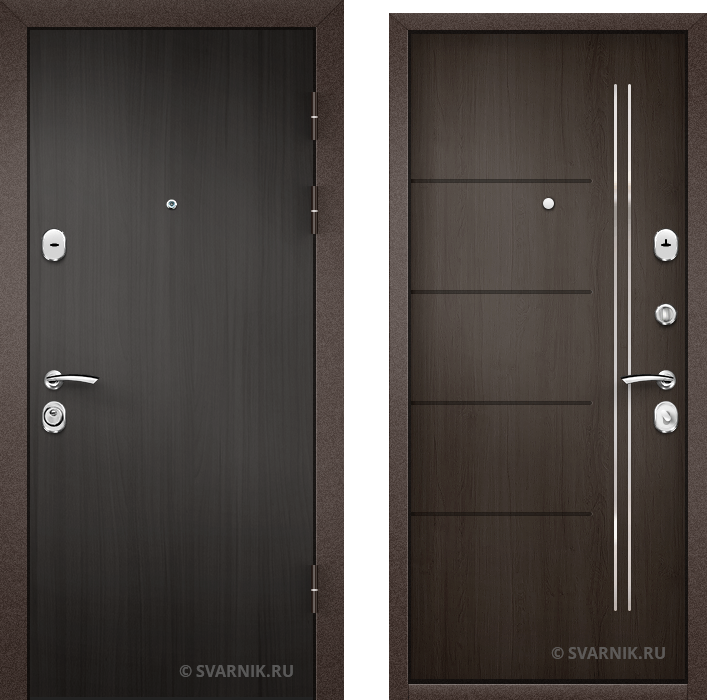 Дверь металлическая под ключ в дом ламинат - шпон