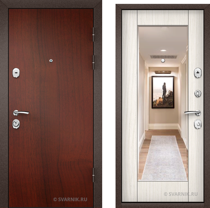 Дверь входная с зеркалом в офис ламинат - массив
