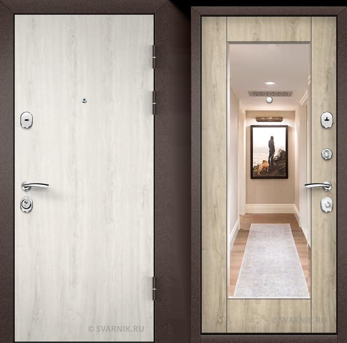 Дверь металлическая с зеркалом в квартиру ламинат - винорит