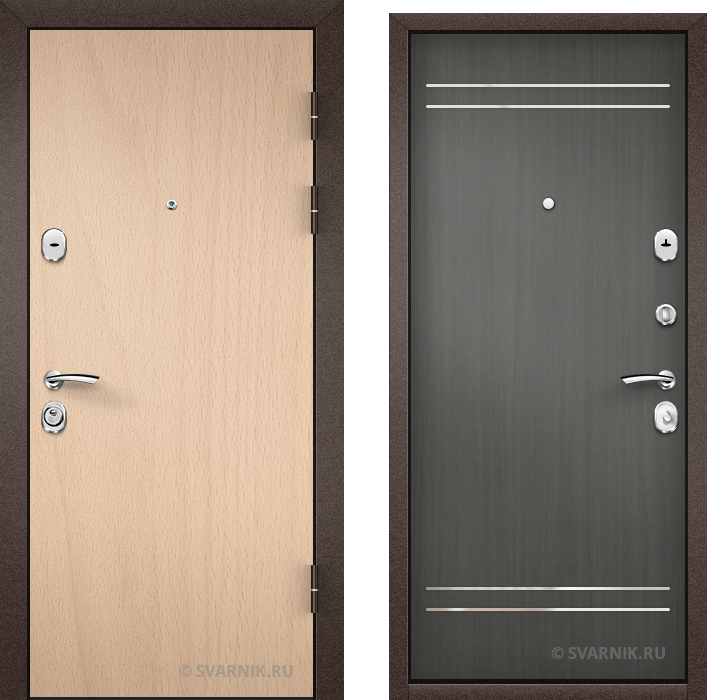 Дверь металлическая усиленная в коттедж ламинат - шпон